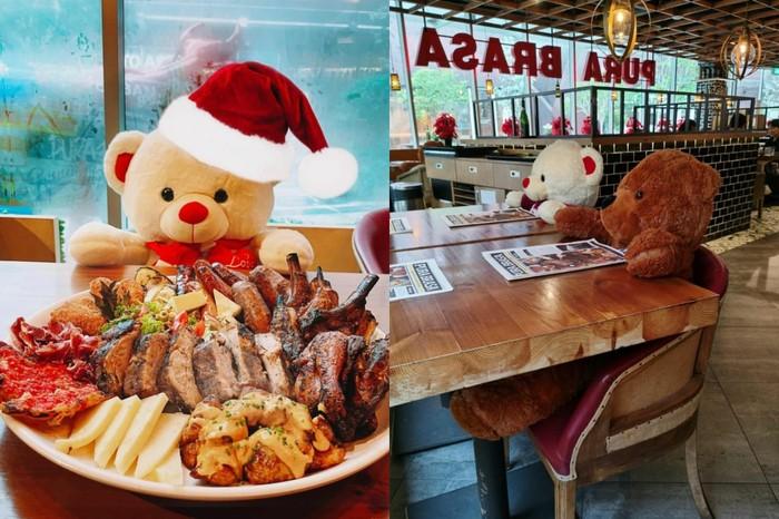 Restoran Pura Brasa Hadirkan Boneka Beruang untuk Ingatkan Prokes Dine In.