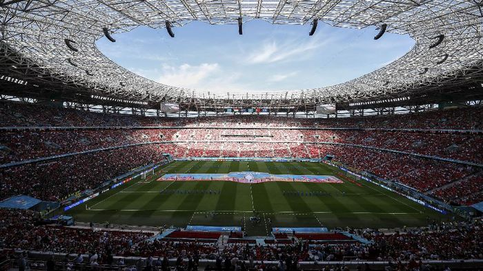 BUDAPEST, HUNGARY - JUNE 15: A general view inside the stadium prior to the UEFA Euro 2020 Championship Group F match between Hungary and Portugal at Puskas Arena on June 15, 2021 in Budapest, Hungary. (Photo by Laszlo Balogh - Pool/Getty Images)