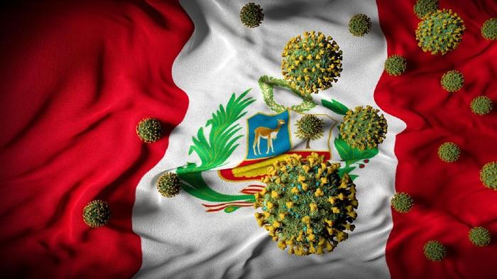 Peru coronavirus invasion crisis abstract background.