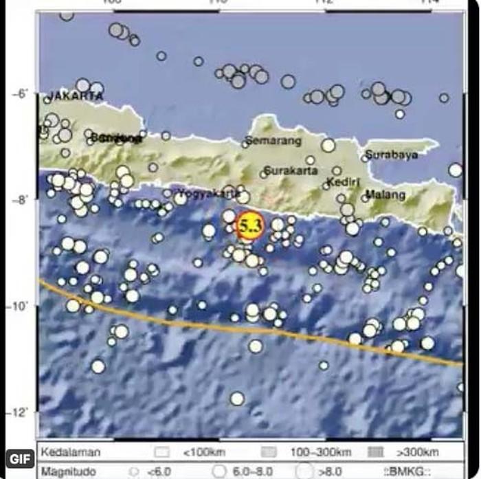 Gempa berkekuatan M 5,3 berpusat di Gunung Kidul DIY juga dirasakan warga Kediri