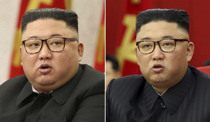 This combination of file photos provided by the North Korean government, shows North Korean leader Kim Jong Un at Workers Party meetings in Pyongyang, North Korea, on Feb. 8, 2021, left, and June 15, 2021. Last time when Kim faced rumors about his health, the North Korean leader had walked with a cane, missed an important state anniversary or panted for breath. Now, the 37-year-old faces fresh speculation about his health because he looks thinner noticeably in recent state media images. Independent journalists were not given access to cover the event depicted in this image distributed by the North Korean government. The content of this image is as provided and cannot be independently verified. (Korean Central News Agency/Korea News Service via AP, File)