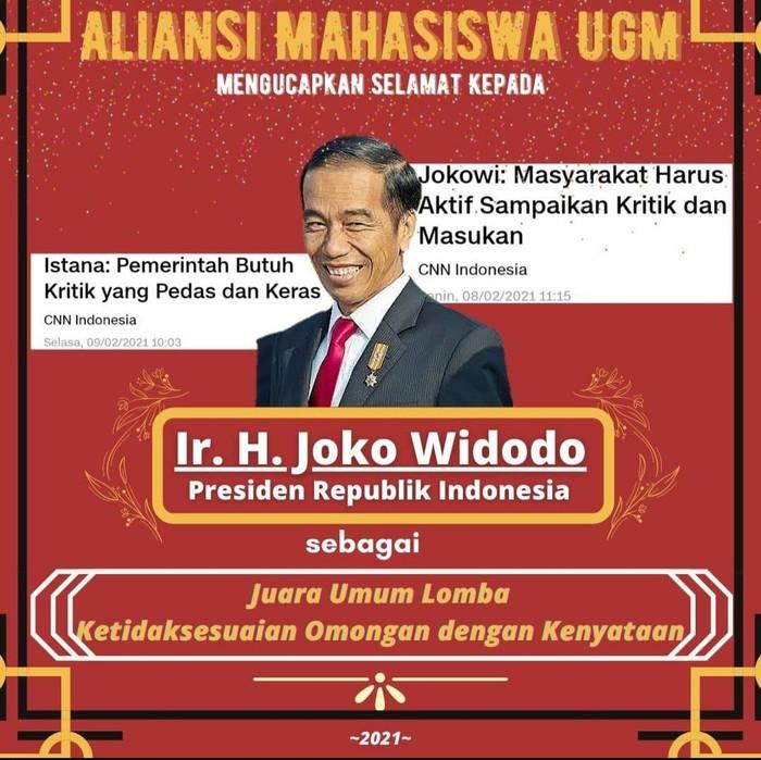Poster ucapan selamat ke Presiden Jokowi dari Aliansi Mahasiswa UGM
