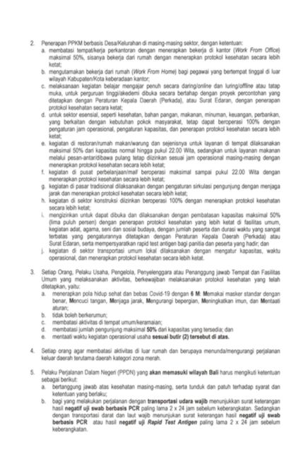 Surat Edaran Perpanjangan PPKM Provinisi Bali