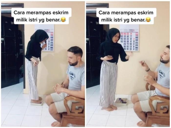 Kocak! Pria Ini Rebut Es Krim Istrinya dengan Trik Taruh Timbangan Badan
