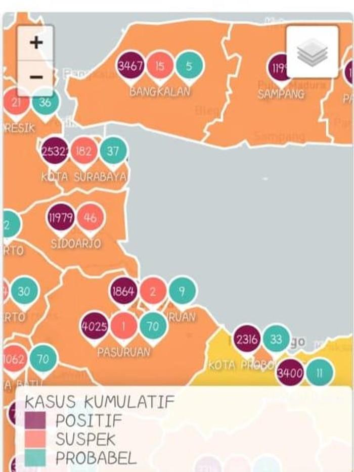 Ini Daftar Zona Merah COVID-19 di Jawa Timur
