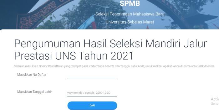 Pengumuman Seleksi Mandiri UNS 2021: Jadwal, Link, dan Cara Cek