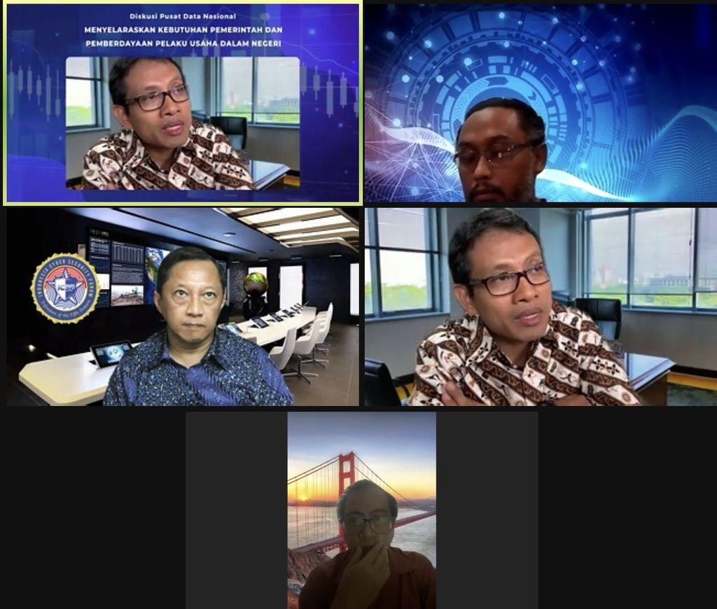Diskusi virtual terkait pusat data nasional, menyelaraskan kebutuhan pemerintah dan pemberdayaan pelaku usaha dalam negeri.
