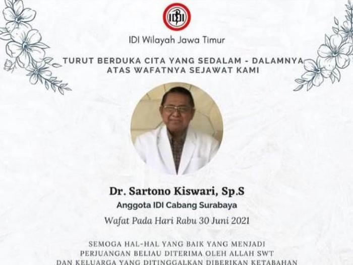 Dokter Spesialis Saraf di Surabaya Meninggal Terpapar COVID-19