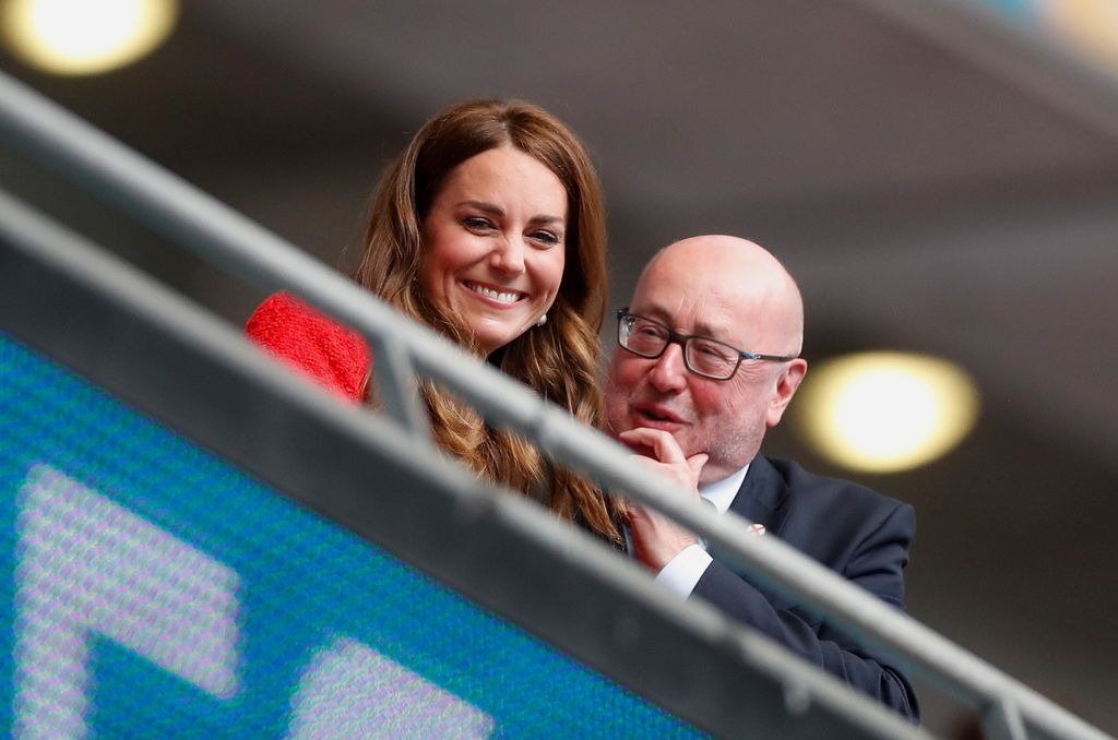 LONDON, ENGLAND - JUNE 29: Catherine, Duchess of Cambridge looks on prior to the UEFA Euro 2020 Championship Round of 16 match between England and Germany at Wembley Stadium on June 29, 2021 in London, England. (Photo by Matthew Childs - Pool/Getty Images)