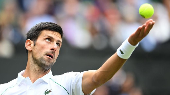 LONDON, ENGLAND - JUNE 30: Novak Djokovic of Serbia serves in his Mens Singles Second Round match against Kevin Anderson of South Africa during Day Three of The Championships - Wimbledon 2021 at All England Lawn Tennis and Croquet Club on June 30, 2021 in London, England. (Photo by Mike Hewitt/Getty Images)
