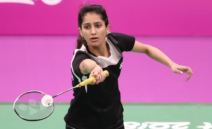GOLD COAST, AUSTRALIA - APRIL 05:  Mahoor Shahzad of Pakistan plays a shot as she competes against Kirsty Gilmour of Scotland during the Badminton Mixed Team Group Play Stage - Group A on day one of the Gold Coast 2018 Commonwealth Games at Carrara Sports and Leisure Centre on April 5, 2018 on the Gold Coast, Australia.  (Photo by Scott Barbour/Getty Images)