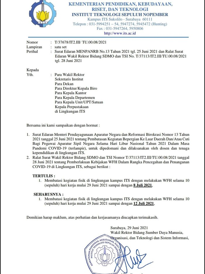 ITS juga Terapkan WFH Saat Kasus COVID-19 Melonjak di Surabaya, Beberpaa Terpapar