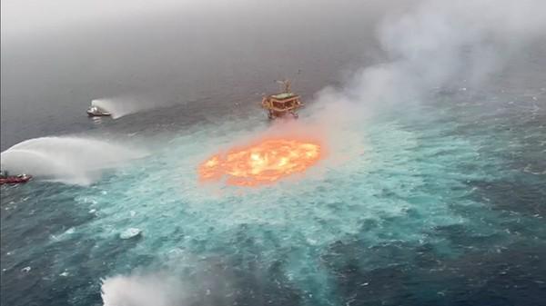 Keboocoran pipa gas ini terjadi di Semenanjung Yucatan, Meksiko.