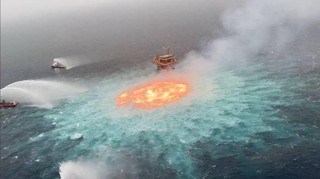 Penampakan Mata Api Muncul di Teluk Meksiko Akibat Kebocoran Gas