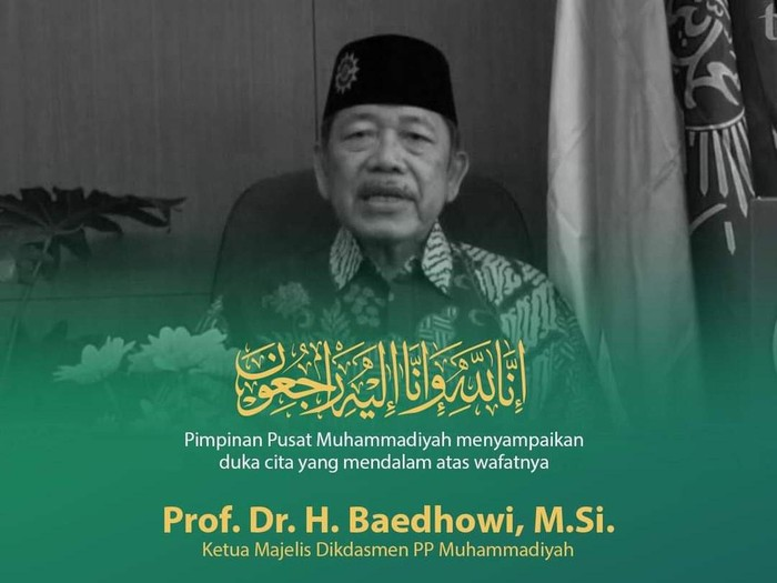 Ketua Majelis Dikdasmen PP Muhammadiyah Prof Dr H Baidhowi meninggal dunia, Minggu (4/7/2021).
