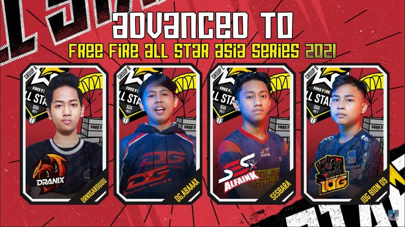 4 Pemain Free Fire Akan Wakili Indonesia di Free Fire All Stars Asia 2021