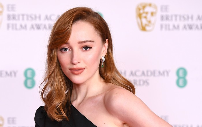 LONDON, ENGLAND - APRIL 11: Awards Presenter Phoebe Dynevor attends the EE British Academy Film Awards 2021 at the Royal Albert Hall on April 11, 2021 in London, England. (Photo by Jeff Spicer/Getty Images)