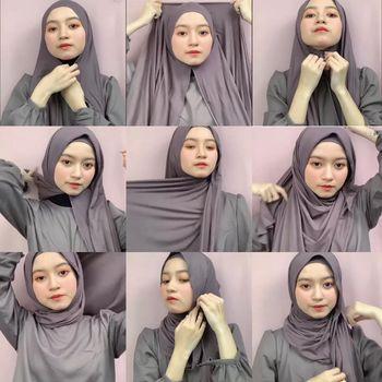 Tutorial hijab pashmina jersey.