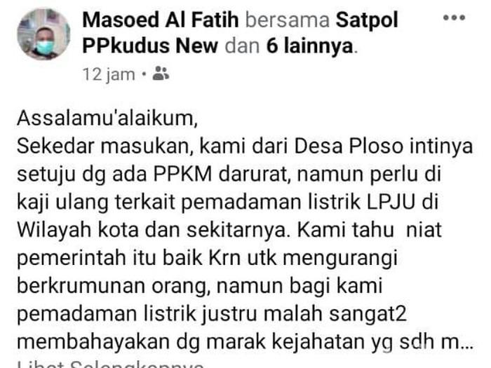Kades Ploso Kecamatan Jati, Kudus keluhkan pemadaman lampu jalan bikin maraknya aksi pembacokan, Kamis (8/7/2021).