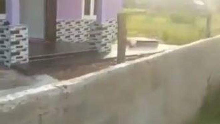 Screenshot video viral jalan ke rumah warga ditutup tembok di Sumsel (dok. Istimewa)