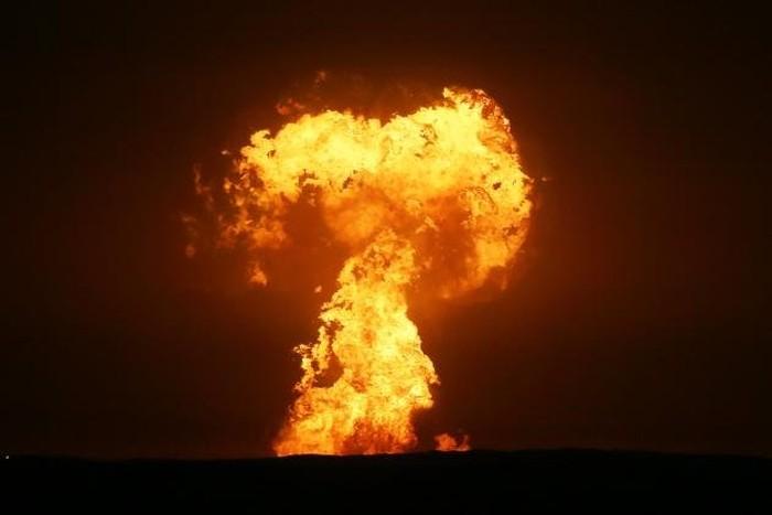 Kobaran api di laut kaspia