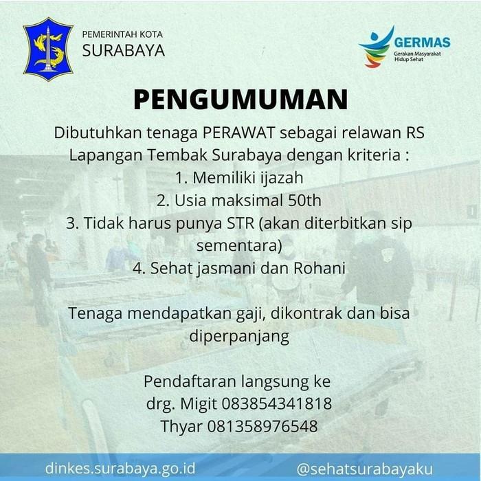 RS Lapangan Tembak (RSLT) Surabaya sore ini akan diisi 150 pasien COVID-19 dari Puskesmas. RSLT membuka lowongan untuk dokter umum dan perawat.