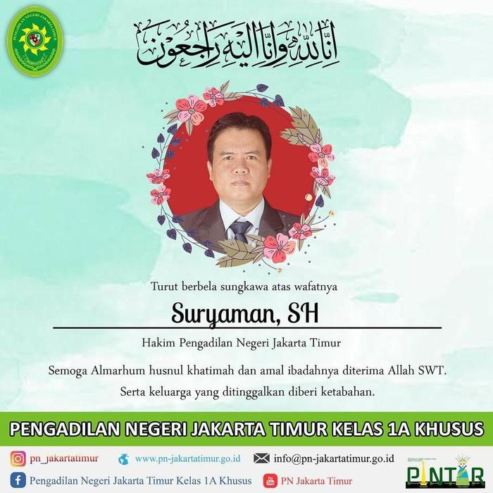 Anggota majelis hakim kasus tes swab Habib Rizieq Shihab, Suryaman, meninggal dunia.