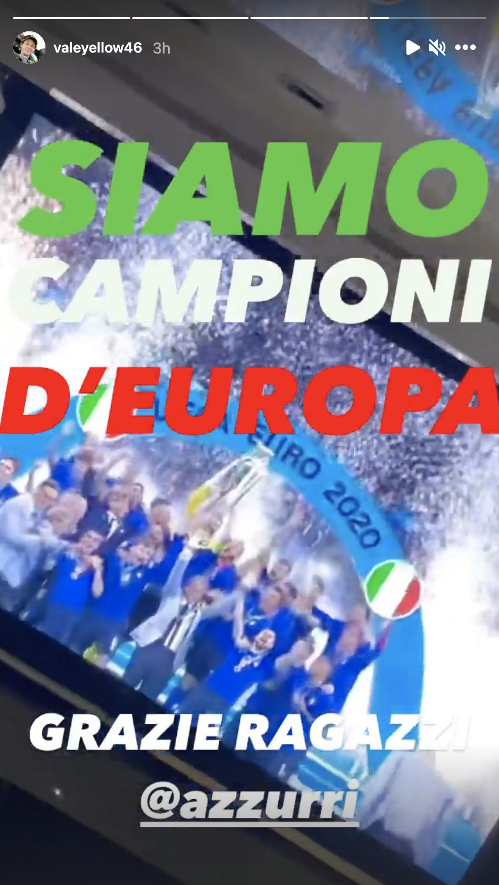 Unggahan Instagram story Valentino Rossi usai kemenangan Italia di Euro 2020