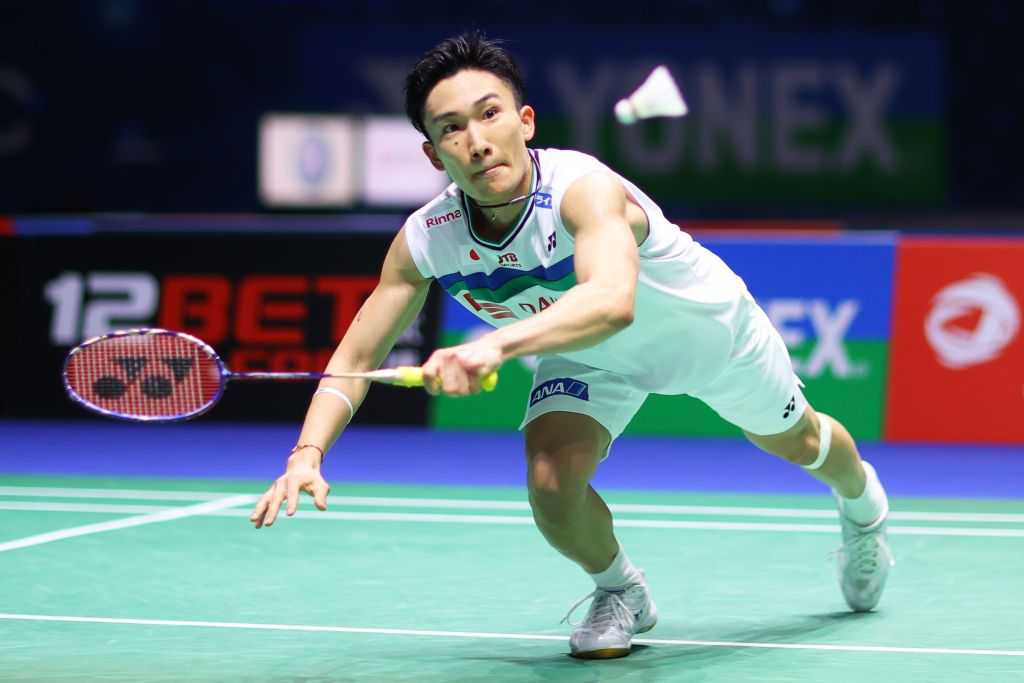 BIRMINGHAM, ENGLAND - MARCH 18: Kento Momota of Japan returns a shot during his round of 16 match against Prannoy H. S. during day two of YONEX All England Open Badminton Championships at Utilita Arena Birmingham on March 18, 2021 in Birmingham, England. (Photo by Naomi Baker/Getty Images)