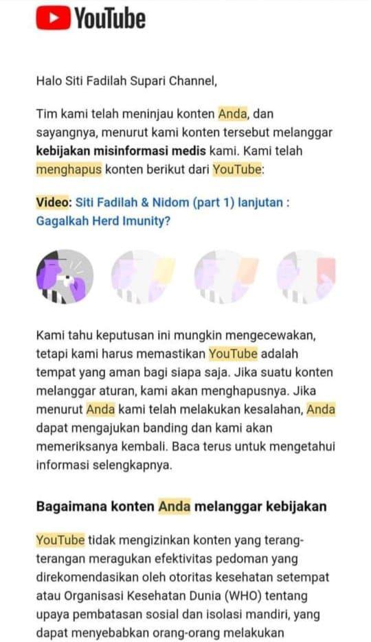 Konten YouTube Eks Menkes Siti Fadilah di-takedown YouTube