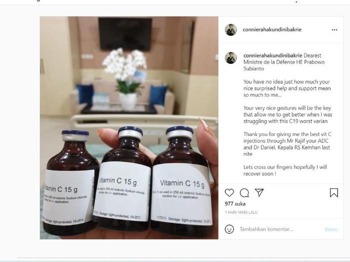 Terpapar COVID-19, Connie Bakrie Kaget Dapat Kiriman Vitamin dari Prabowo