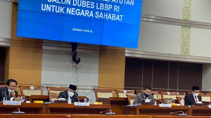 Uji kelayakan dan kepatutan calon Dubes RI di Komisi I DPR, Rabu (14/9/2021).