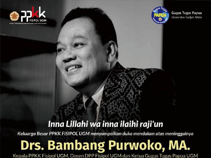 Dosen UGM Bambang Purwoko meninggal dunia, Rabu (14/7/2021).