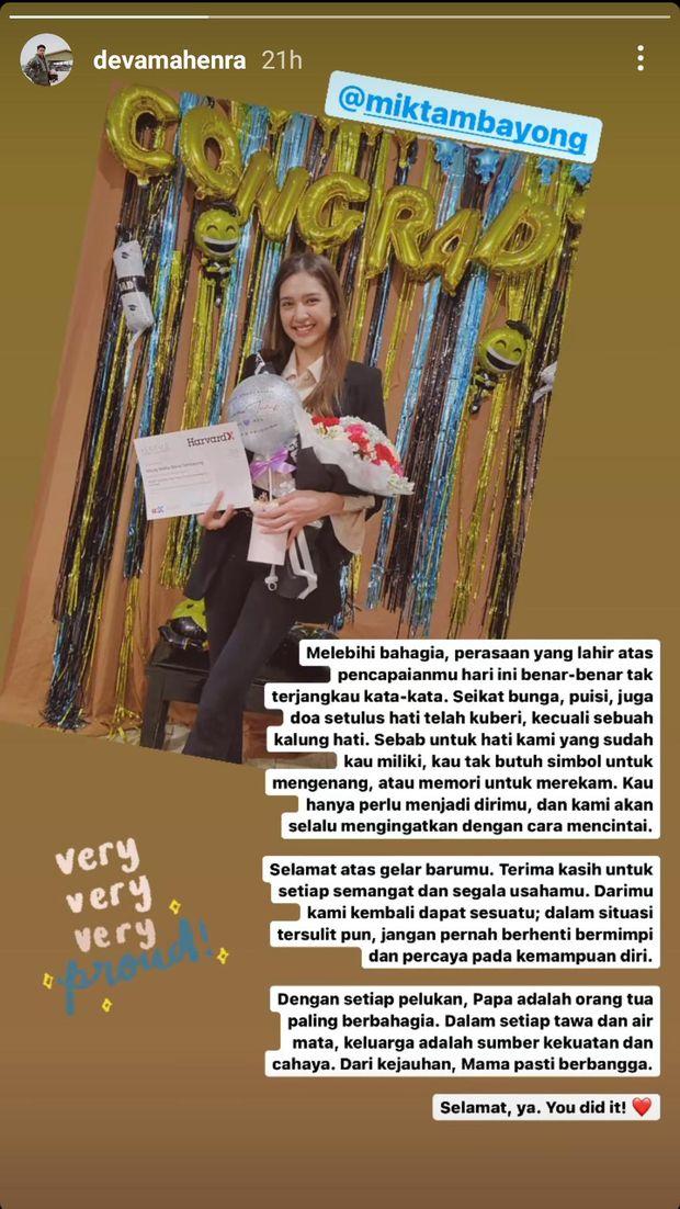 Deva Mahenra persembahkan untaian kalimat puitis untuk Mikha Tambayong