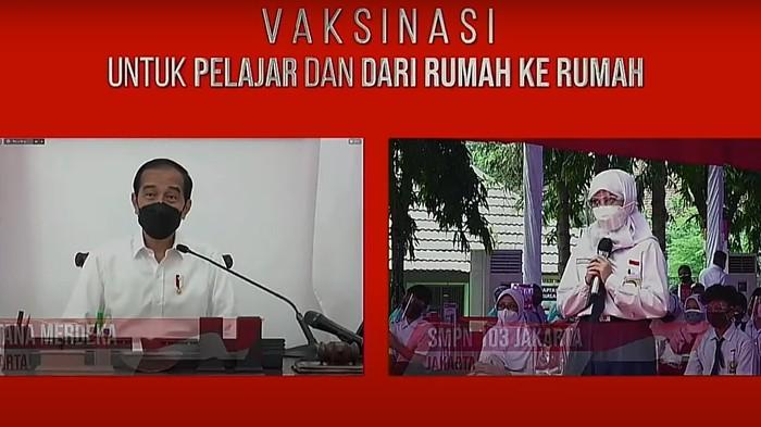 Presiden Jokowi Sapa Siswa Peserta Vaksinasi