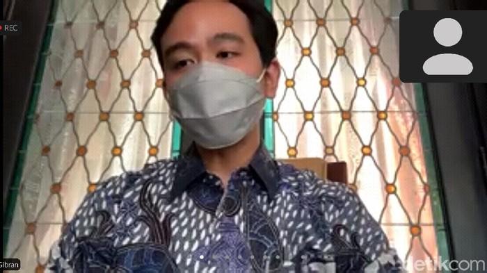 Wali Kota Solo Gibran Rakabuming Raka saat jumpa pers virtual, Rabu (14/7/2021).