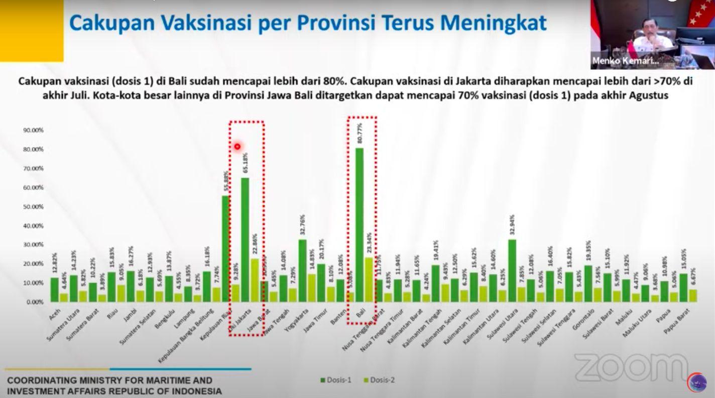 Cakupan vaksinasi per provinsi, disampaikan Luhut pada 15 Juli 2021. (YouTube Kemenko Marinves)