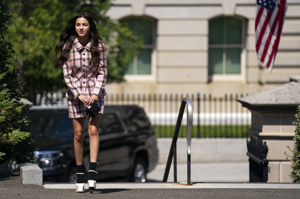 Teen pop star Olivia Rodrigo speaks at the beginning of the daily briefing at the White House in Washington, Wednesday, July 14, 2021. Rodrigo is at the White House to film a vaccination video. (AP Photo/Susan Walsh)
