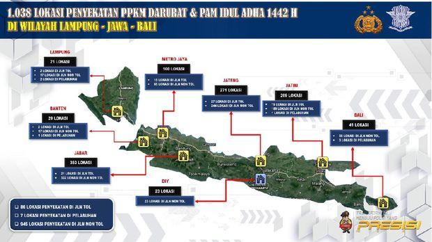 Sebaran titik penyekatan saat PPKM Darurat dari Lampung-Jawa-Bali