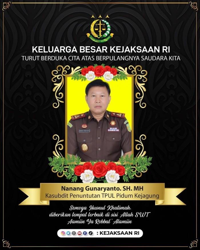 Jaksa Nanang Gunaryanto meninggal dunia (Instagram Kejaksaan Agung)