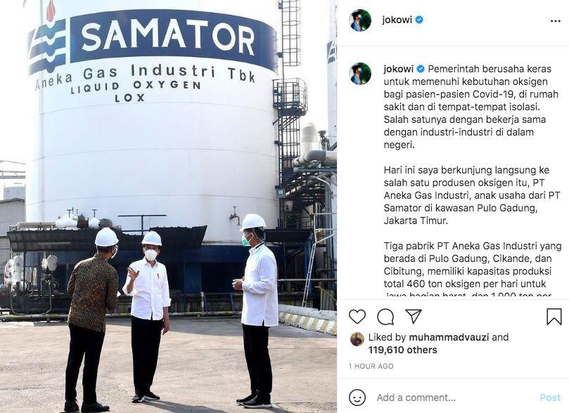 Jokowi di Pabrik AGII, dok Instagram @Jokowi