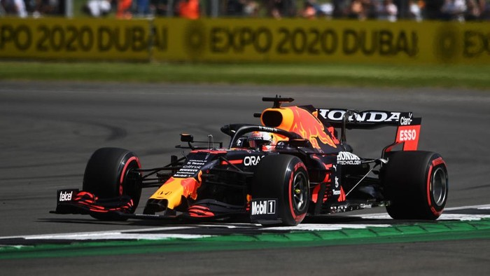NORTHAMPTON, ENGLAND - JULY 16: Max Verstappen of the Netherlands driving the (33) Red Bull Racing RB16B Honda during practice ahead of the F1 Grand Prix of Great Britain at Silverstone on July 16, 2021 in Northampton, England. (Photo by Michael Regan/Getty Images)