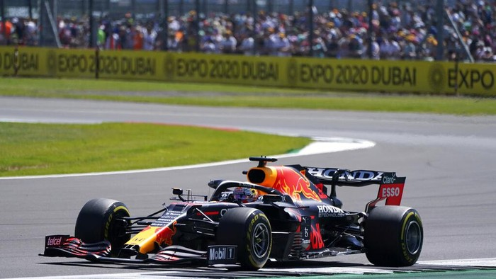 Red Bull driver Max Verstappen of the Netherlands steers his car during the practice session ahead of Sundays British Formula One Grand Prix, at the Silverstone circuit, in Silverstone, England, Saturday, July 17, 2021. (AP Photo/Jon Super)