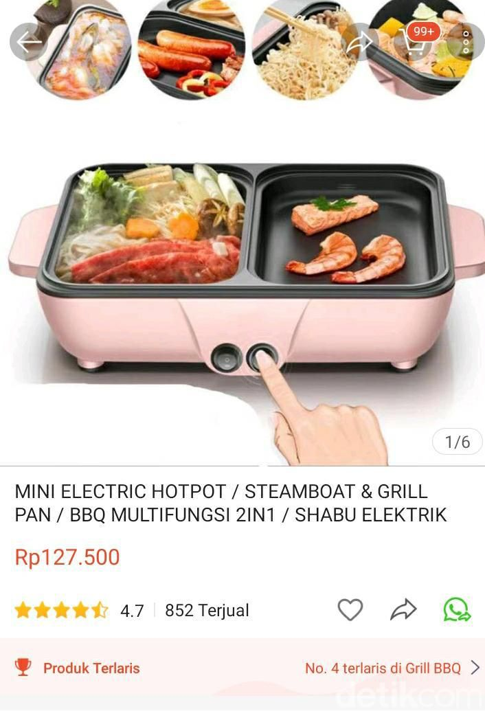 Pan 2 in 1 elektrik untuk masak hot pot dan BBQ