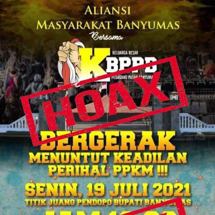 Flyer hoax ajakan aksi menolak PPKM di Banyumas