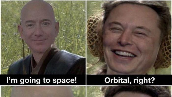 Persaingan Elon Musk dan Jeff Bezos soal urusan ruang angkasa berbuntut pada meme sindiran. Elon Musk menyukai meme yang mengejek Bezos hanya ke sub-orbital. Diketahui, orang kaya dunia itu akan terbang ke luar Bumi pada 20 Juli nanti.  Meme itu mengolok-olok fakta bahwa penerbangan Blue Origin Bezos yang akan datang sebenarnya hanya akan menjadi sub-orbital yang berarti hanya akan menyentuh tepi ruang angkasa, bukan pergi ke orbit penuh di sekitar Bumi.