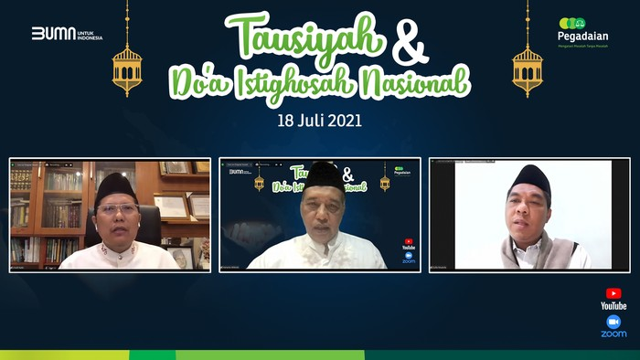 PT Pegadaian (Persero) menggelar istigosah nasional bertajuk Tausiyah dan Doa Istigosah Nasional untuk Indonesia sehat.