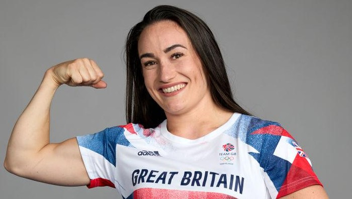 BIRMINGHAM, ENGLAND - June 30: A portrait of Sarah Davies, a member of the Great Britain Olympic Weightlifting team, during the Tokyo 2020 Team GB Kitting Out at NEC Arena on June 30, 2021 in Birmingham, England. (Photo by Karl Bridgeman/Getty Images for British Olympic Association)