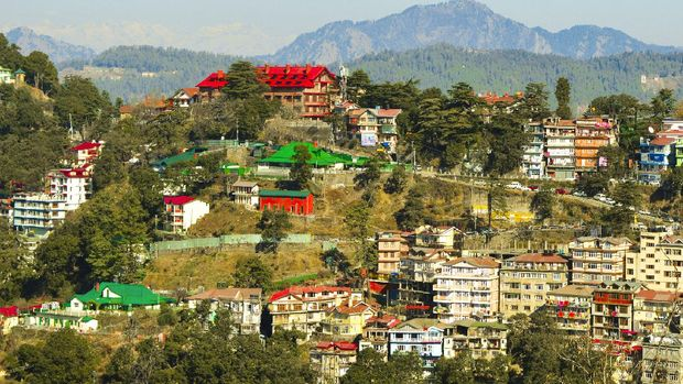 View of mountain with houses in shimla