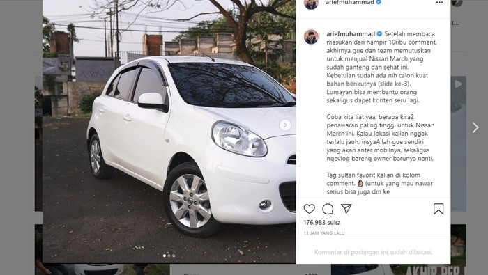 Arief Muhammad lelang Nissan March